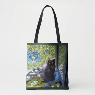 Tote Bag: Cat at Window w. Elegant Butterfly Fairy