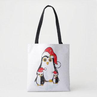 Tote Bag Christmas Penguins