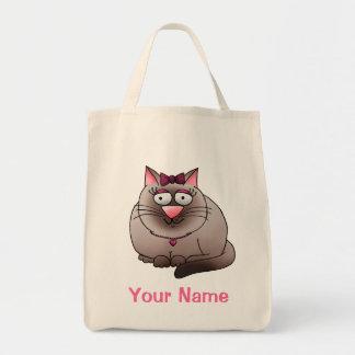 Tote Bag, Cute Fat Cat Cartoon, Use Your Name!
