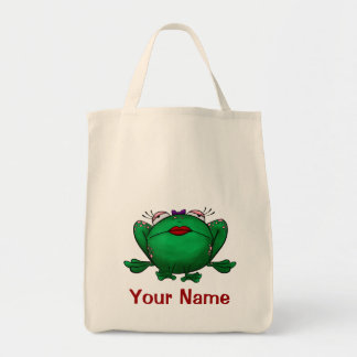 Tote Bag, Cute Female Frog Cartoon, Use Your Name! Grocery Tote Bag