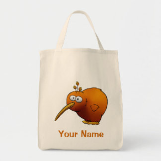 Tote Bag, Cute Kiwi Bird Cartoon, Use Your Name!