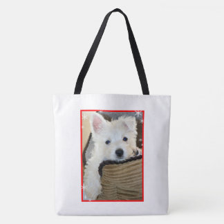 Tote Bag-Cute Westie Puppy in the snow
