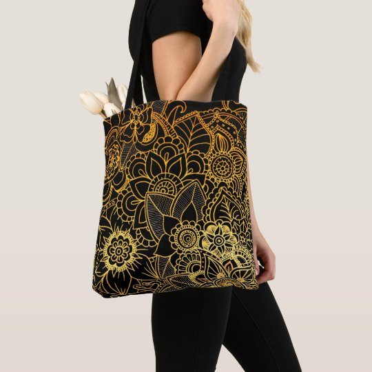 Tote Bag Floral Doodle Gold G523