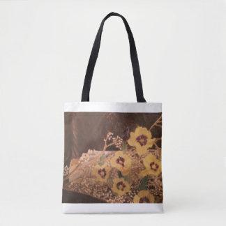 Tote Bag Flowers aside a Log Sarr