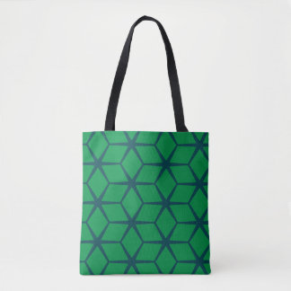 Tote Bag: Geometric Navy & Green
