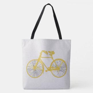 tote bag gold bicycle bike