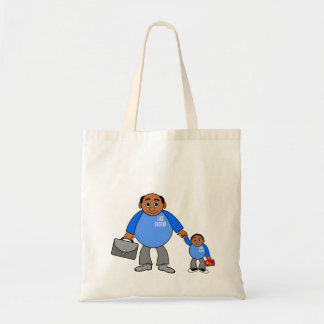 tote bag image of father and son walking together budget tote bag