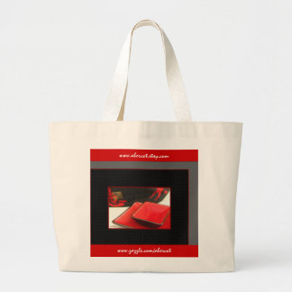 Tote Bag, Large - Japanese Kanji and Red Dishes Jumbo Tote Bag
