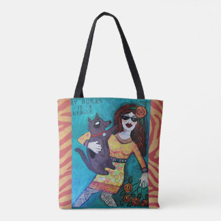 Tote bag-my human is a rescue