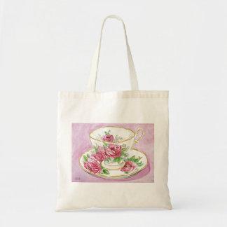 Tote Bag - Teacup & Saucer - Floral Pink Roses