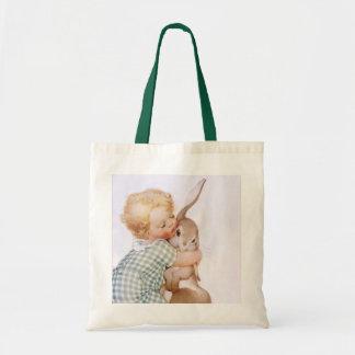 Tote Bag Vintage Child Hugs Bunny Rabbit Sack
