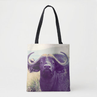 Tote Bag with close-up photo of a Water Buffalo