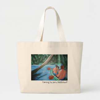 Tote bag with couple in canoe
