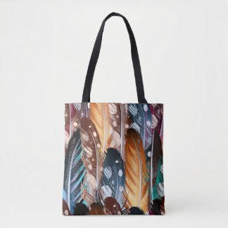 Tote bag with hand-drawn Feathers