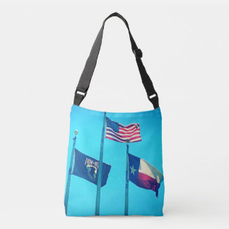 Tote Bag with Image of USA, Texas and POW Flags