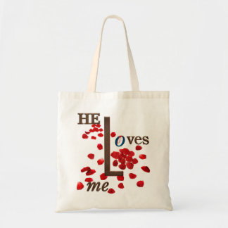 tote bag with love message on red rose petals