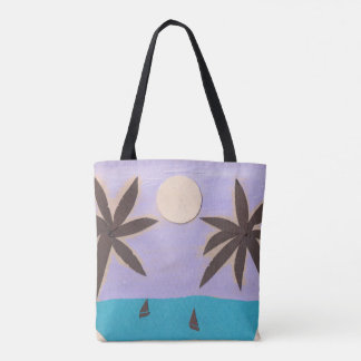 Tote Bag with Palm Trees and Lavender Sky
