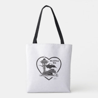 Tote Bag with Seattle design on it