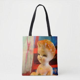Tote bag with vintage china ladies