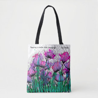 Tote bag with whimsical pink flowers
