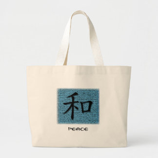 Tote Bags Chinese Symbol For Peace On Turquoise
