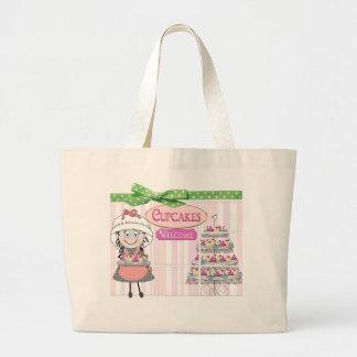 TOTE - CUPCAKE BAKERY - MELODY - PINK/GREEN JUMBO TOTE BAG