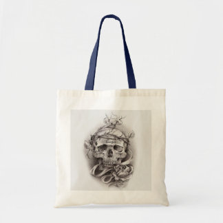 Tote (designer) - Skull with Crown of Thorns Budget Tote Bag