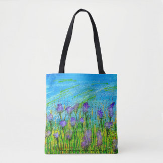 Tote Poster with handpainted watercolor of purple