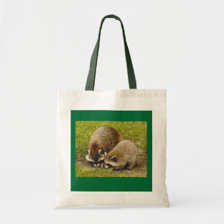 """Tote """"Raccoons looking for food"""" Canvas Bags"""