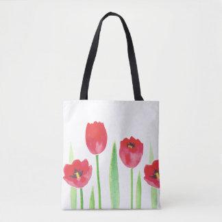 Tote stock market tulipas | Watercolor tulips bag