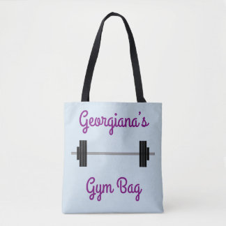 """Tote With Barbell + Personalized Name + """"Gym Bag"""""""