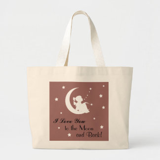 "Tote with Saying ""I Love You to the Moon and Back"" Jumbo Tote Bag"