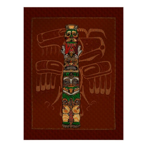 Totem Native American Folk Art Poster