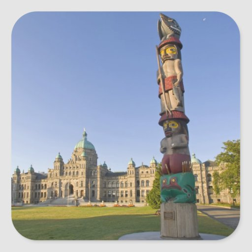 Totem pole at the Parliament building in Square Stickers