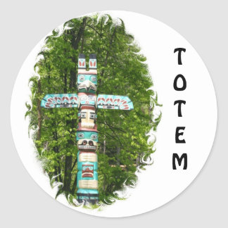 Totem Pole Round Sticker