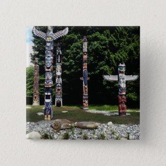 Totem poles, Vancouver, British Colombia 15 Cm Square Badge