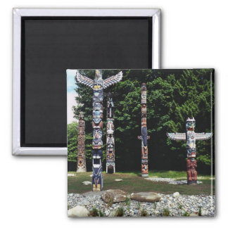 Totem poles, Vancouver, British Colombia Square Magnet