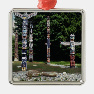 Totem poles, Vancouver, British Colombia Silver-Colored Square Decoration