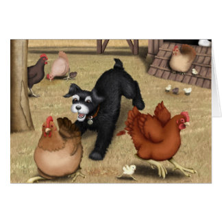 Toto Chasing Chickens in the Yard Greeting Card