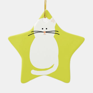 Totty The Cat. Colourful bright cat art Ceramic Star Decoration