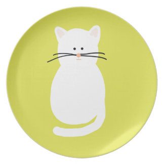 Totty The Cat. Colourful bright cat art Plate