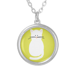 Totty The Cat. Colourful bright cat art Silver Plated Necklace