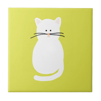 Totty The Cat. Colourful bright cat art Tile