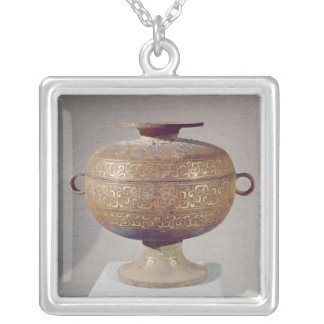 Tou' vessel with a serpentine decoration silver plated necklace