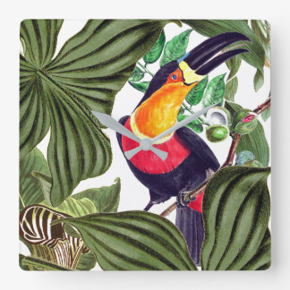 Toucan Bird Wildlife Animals Leaves Wall Clock