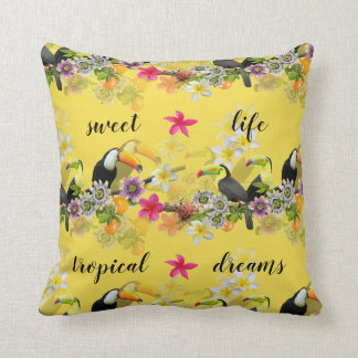 Toucan Birds, Passion Flowers, Plumeria Tropical Cushion