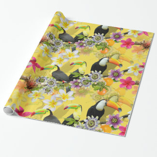 Toucan Birds, Passion Flowers, Plumeria Tropical Wrapping Paper