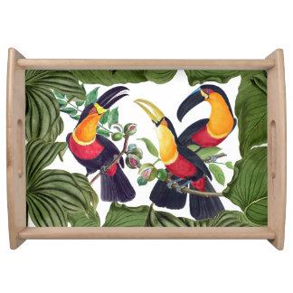 Toucan Birds Wildlife Animals Leaves Serving Tray