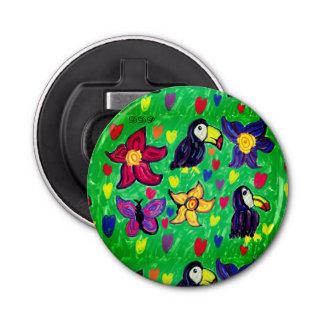 Toucan flower butterfly bottle opener