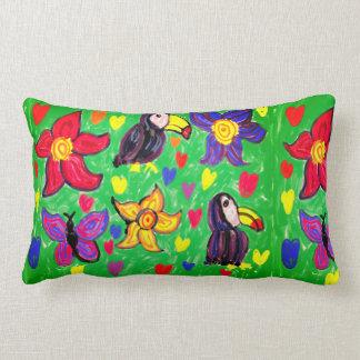 Toucan flower butterfly lumbar cushion